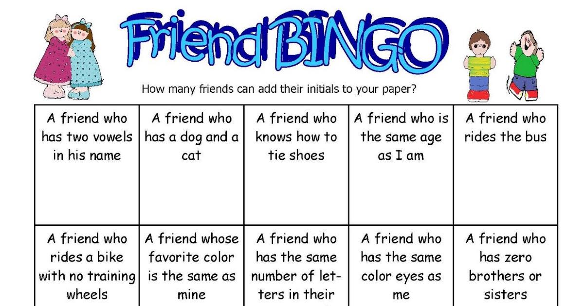 Color Me Happy In Kindergarten Friend Bingo