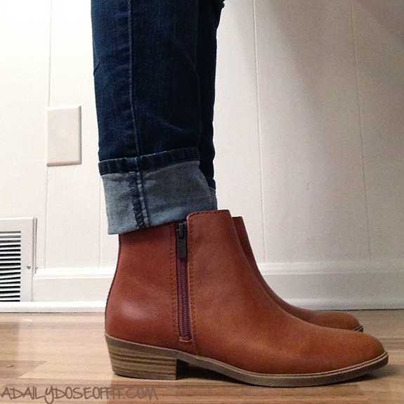 Wear ankle boots in the fall with jeans. Just cuff the jeans above your boots.