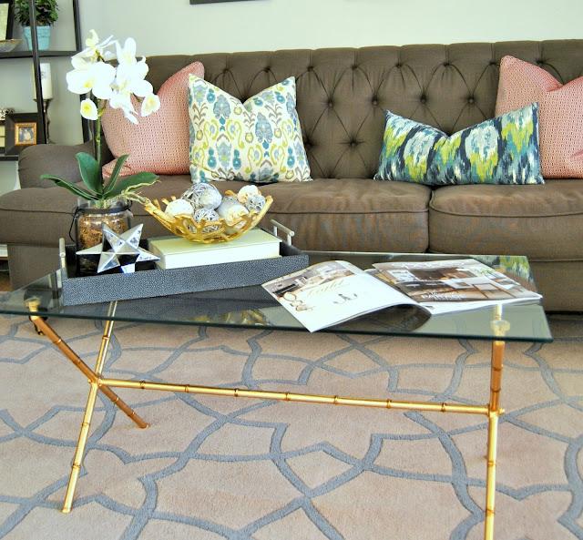 rellis Rug, Gray tufted sofa, grey tufted sofa, throw pillows, tray styling, lighting