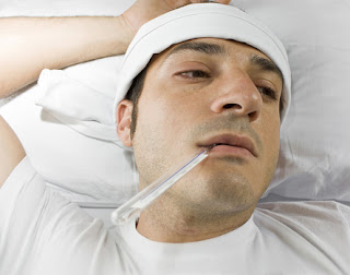 picture of man with a high fever