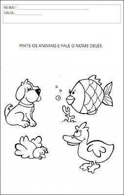 Atividades sobre animais - Pinte os animais