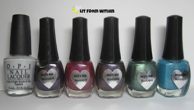 OPI My Boyfriend Scales Walls, Biker Chick, Fire Dancer, Purple Prism, Aquarius, and Gabriel