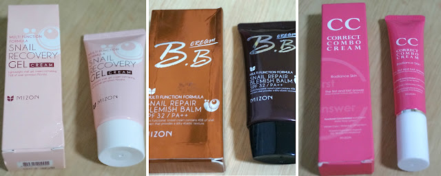 Snail Recovery Gel Cream, Snail Repair BB, and Correct Combo CC