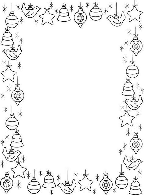 ... DIBUJOS: Borde Navideño para colorear e imprimir - Esferas navideñas
