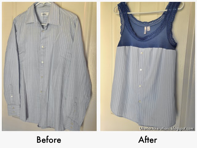 Ulterior Alterations: Refashioned Tank from Men's Button Down Before & After