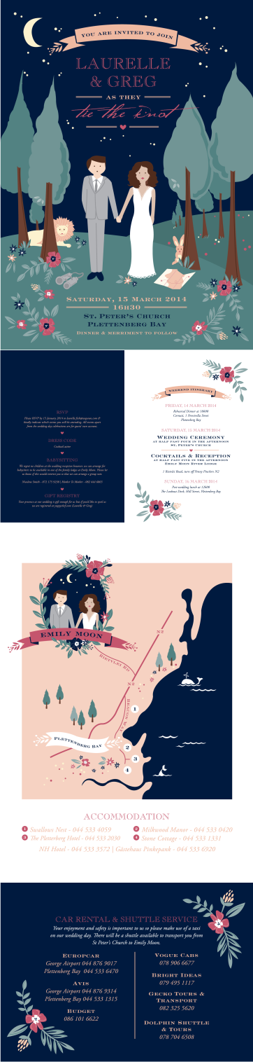 wedding stationary designed by seven swans in blue, raspberry, green and soft pink