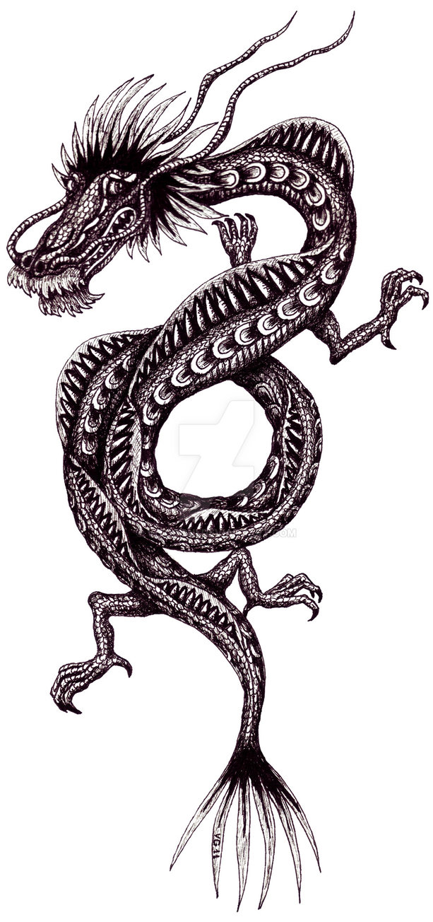 03-Chinese-dragon-Vitaliy-Gonikman-Surreal-Black-and-White-Drawings-with-a-Message-www-designstack-co