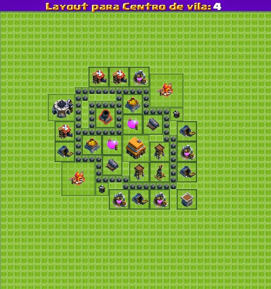 Dicas clash of clans 39 layouts 39 cv nivel 4 for Html table th 2 rows