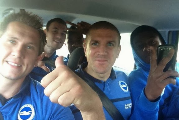 Tomasz Kuszczak posts pictures of him and his Brighton teammates get in a taxi