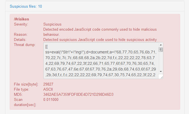 Malicious JavaScript detection dump