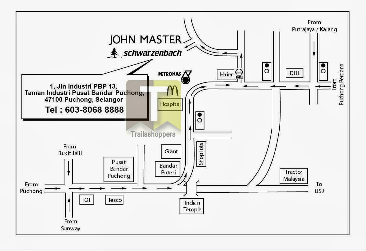 John Master Apparel Warehouse Clearance Map Puchong Selangor Giant Hospital DHL Bandar Puteri Petronas McDonald