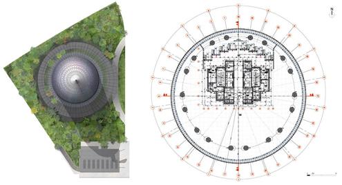 arriba planos de planta y la torre se construy en un solar de figura triangular y queda rodeada por amplias zonas verdes en