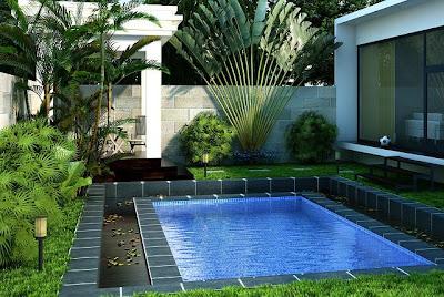 desain rumah minimalis modern dengan Desain Kolam renang Taman Asri