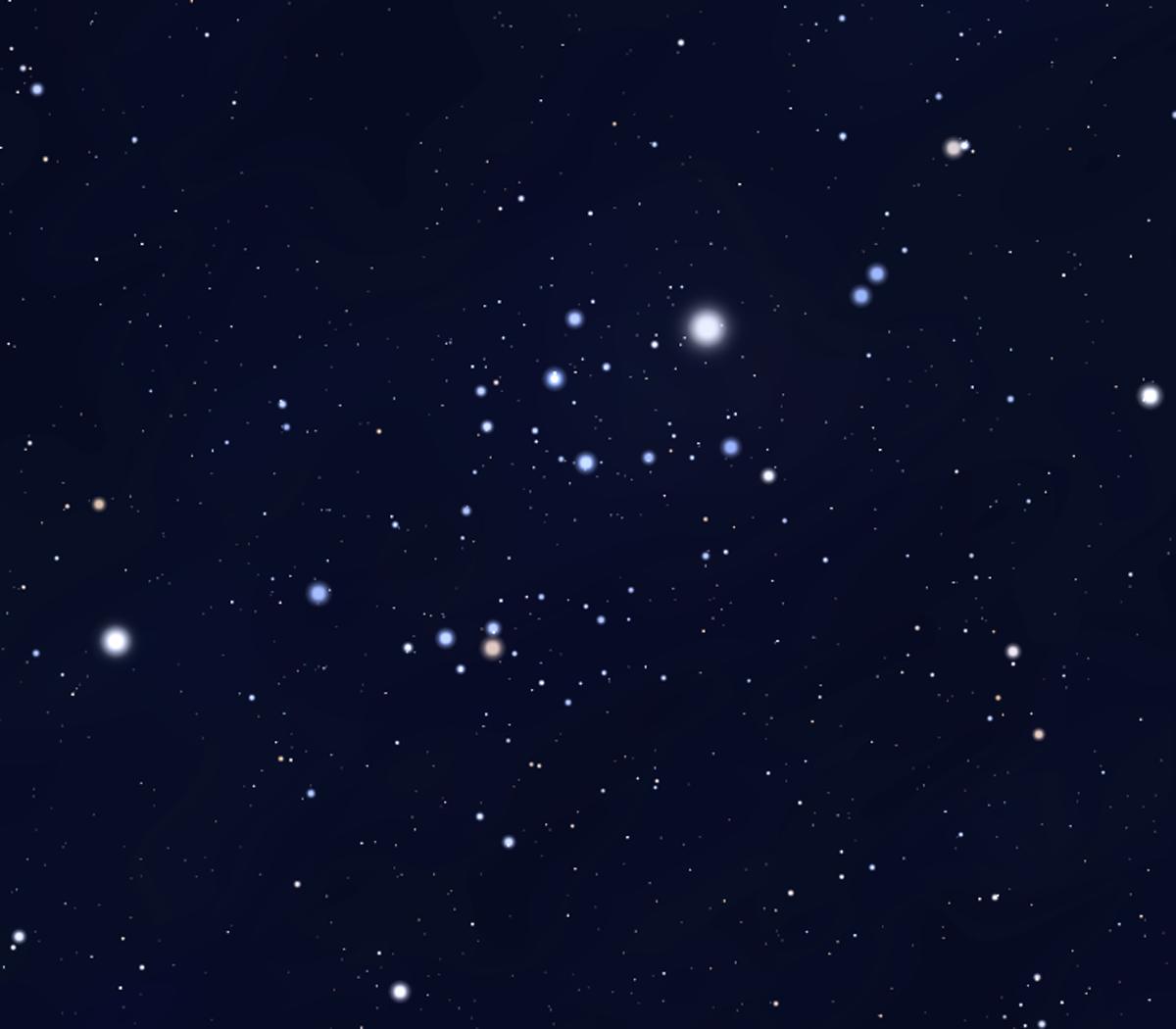 Nhóm sao di chuyển Alpha Persei. Hình minh họa bởi Stellarium.