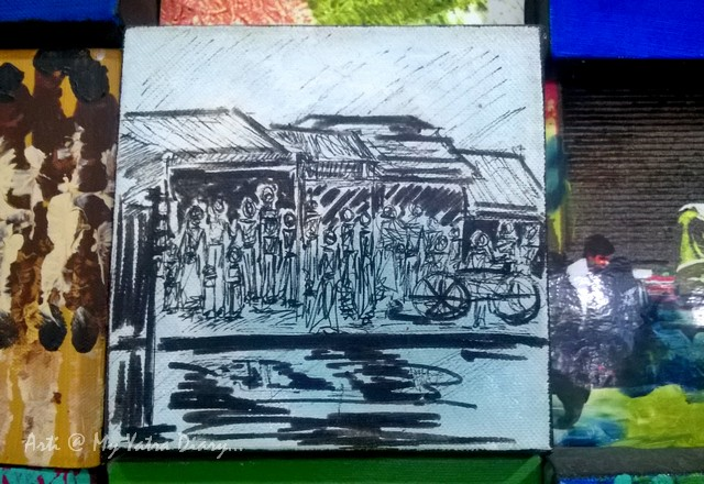 A rainy day - Sketch at Mumbai Chhatrapati Shivaji Domestic Airport, Terminal 1A