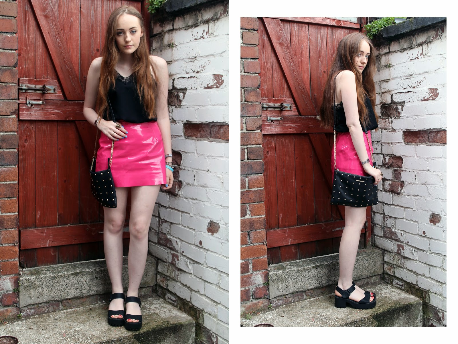 black lace cami with pink pvc mini skirt, black studded bag and black cleated sole sandals from new look