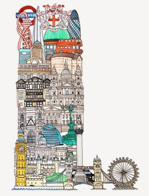 12-L-London-UK-Hugo-Yoshikawa-Illustrated-Architectural-Alphabet-City-Typography-www-designstack-co