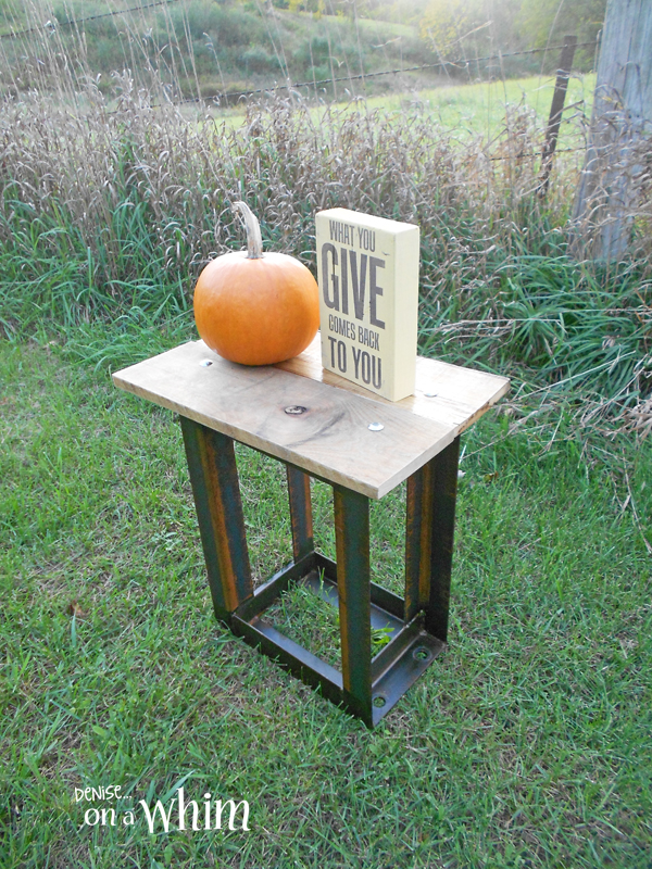Rusty Industrial Side Table from Denise on a Whim