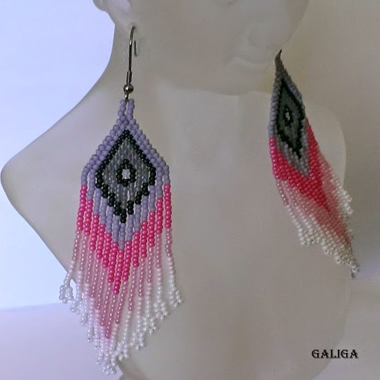 colorful seed bead earrings-earrings with fringe-earrings in pastel colors