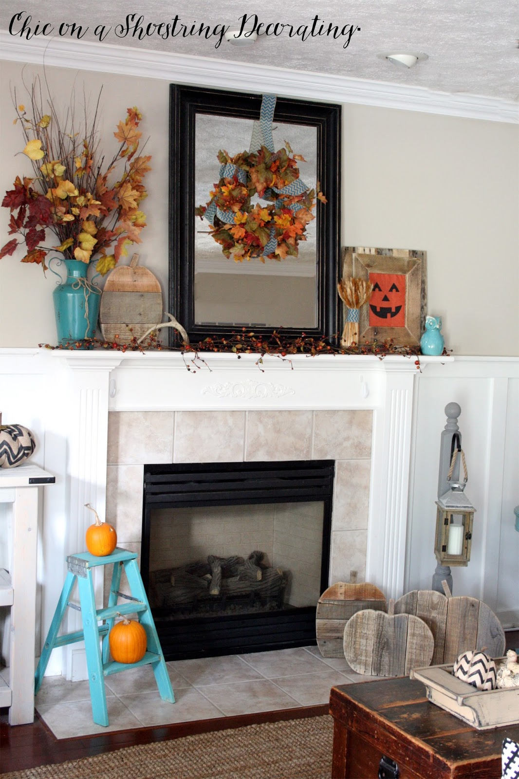Chic on a shoestring decorating fall farmhouse decor to for Farmhouse fireplace decor