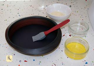 Easter cheesecake preparación moldes