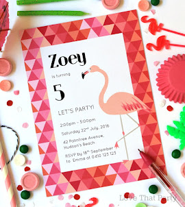 Modern Flamingo Invitation