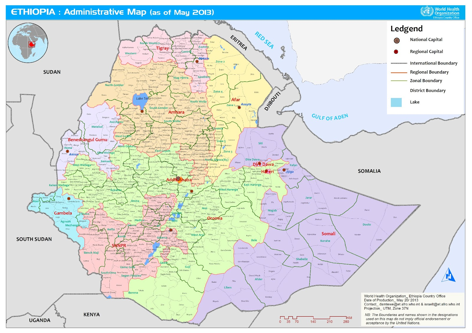 New Administrative Map Of Ethiopia Updated Map of Ethiopia
