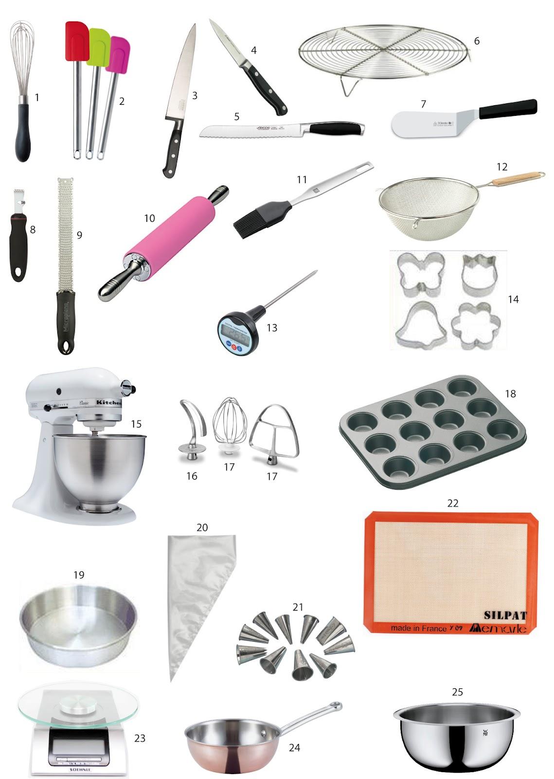 Cannelle douce cuisine elementos b sicos de pasteler a for Utensilios y materiales de una cocina de restaurante