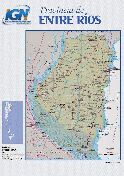 Mapa da província de Entre Rios - Argentina