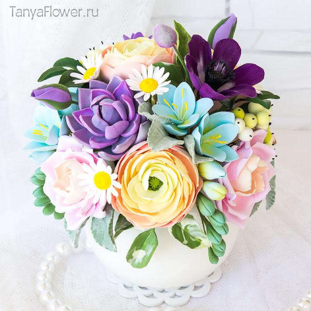 цветы из полимерной глины в подарок
