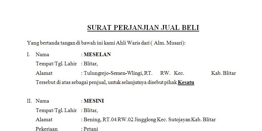 Contoh Surat Perjanjian Jual Beli Tanah At Constricted Pupils
