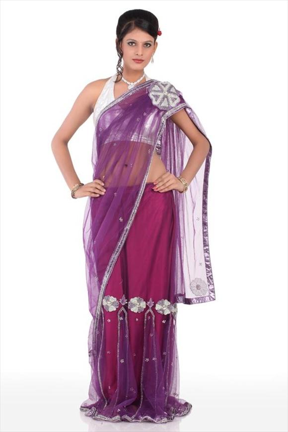 indian Violet Net Saree