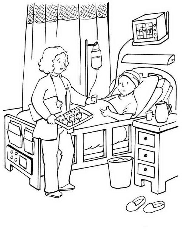 Paciente en hospital para colorear - Dibujo Views