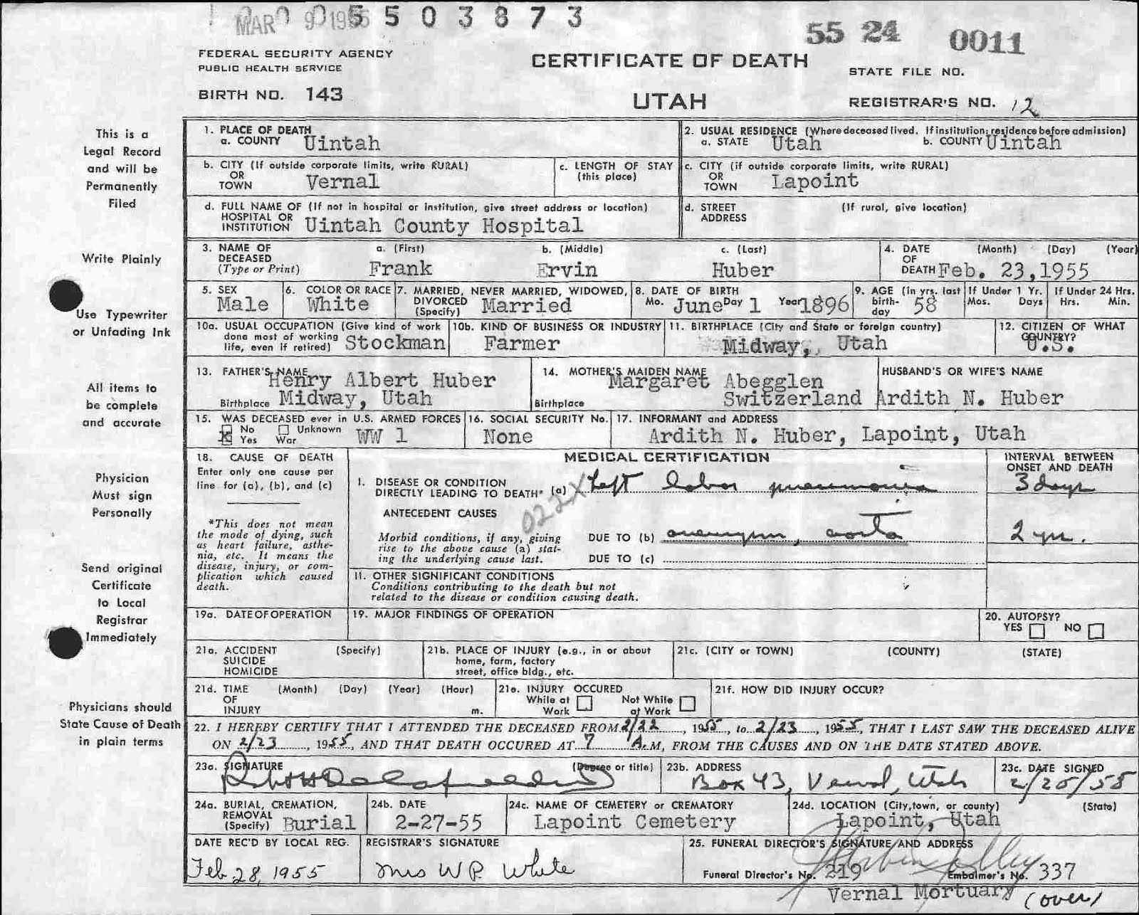 Leroy and vera huber death info on frank huber death certificate 1betcityfo Choice Image