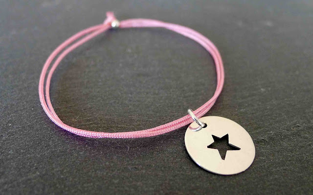 star silver and cord bracelet