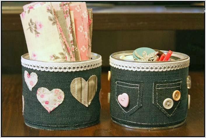Карандашницы - органайзеры из джинсовки. Pencil holders - organizers of jeans
