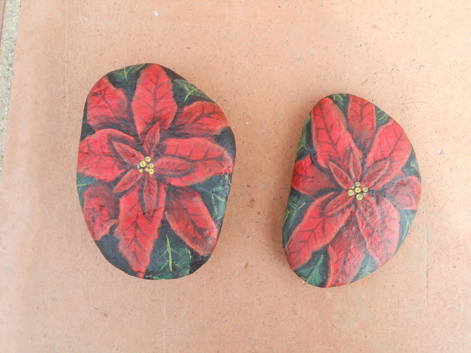 Piedras pintadas a mano piedras pintadas ponsetias o for Pintura de piedras