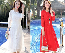 White/Red There Quarter Sleeve Elastic Waist Flare Long Dress
