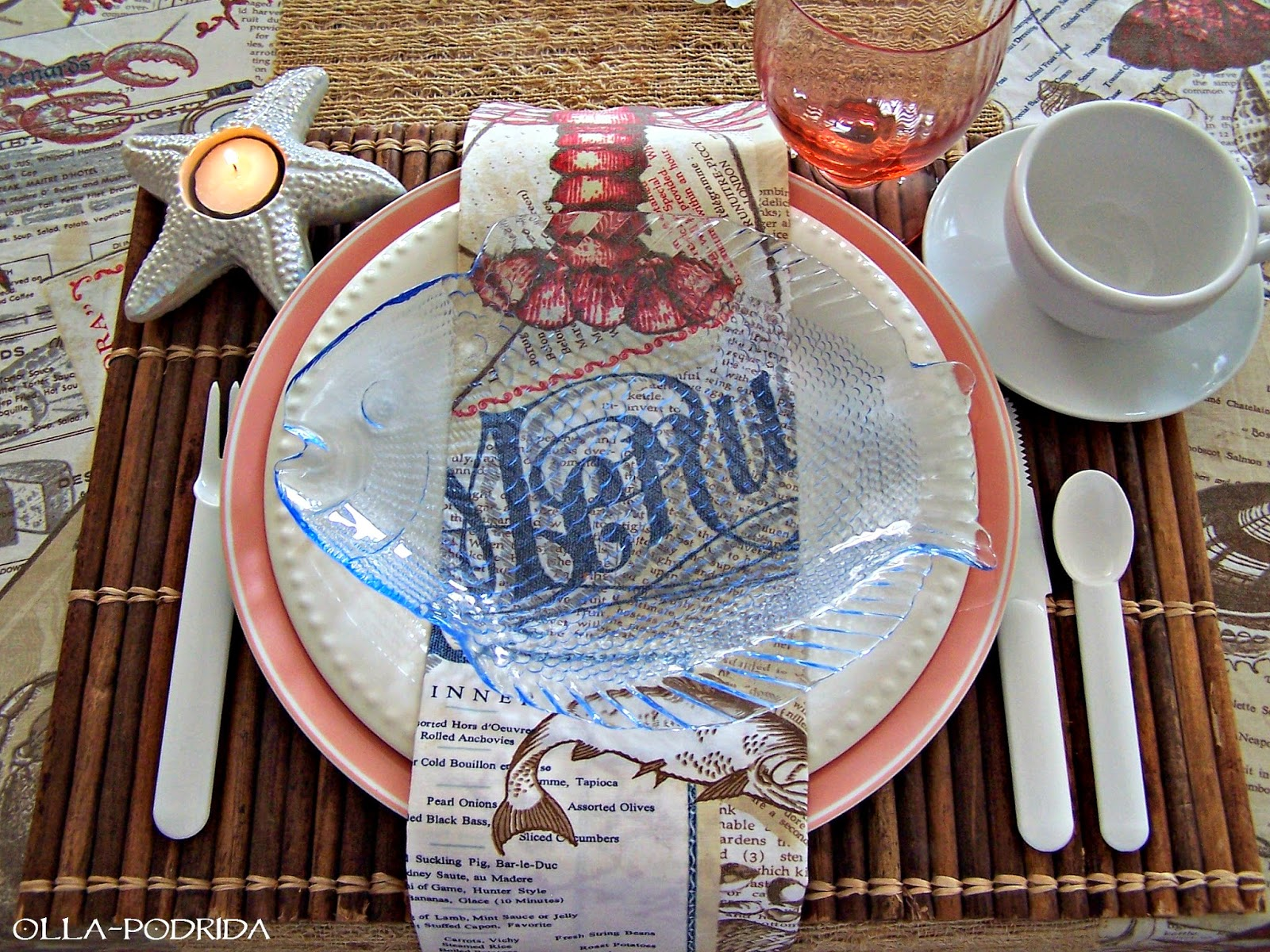I have loved the elements of the sea from early on. I have no idea where this love came from but it has been with me since my youth. & Olla-Podrida: Seaside Picnic Table Setting