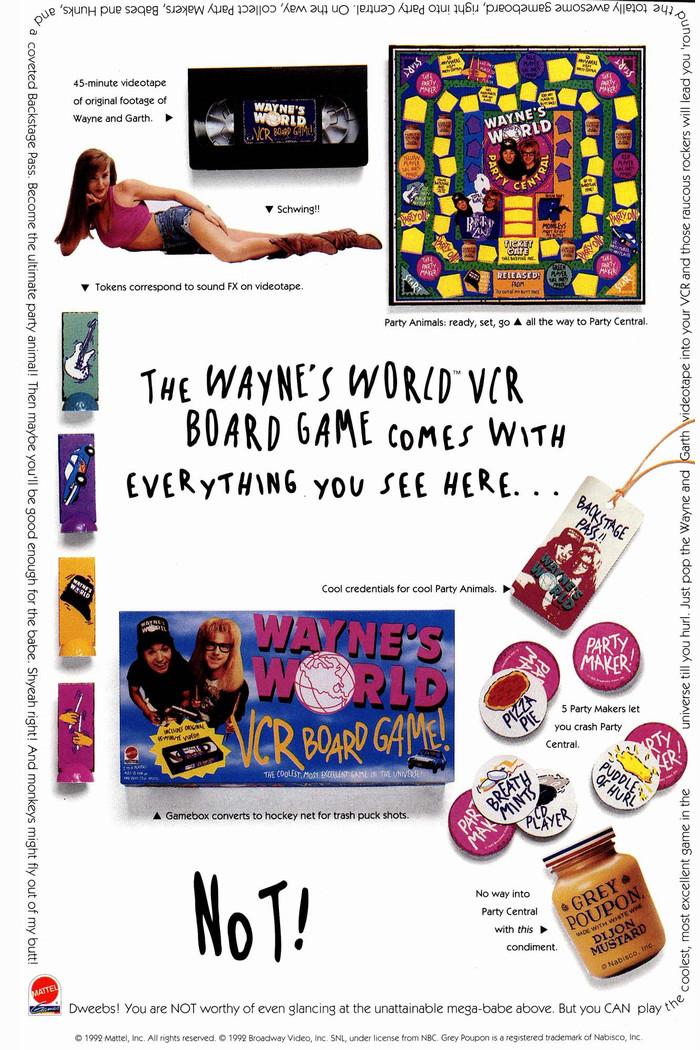 Marvel ad Wayne's World board game