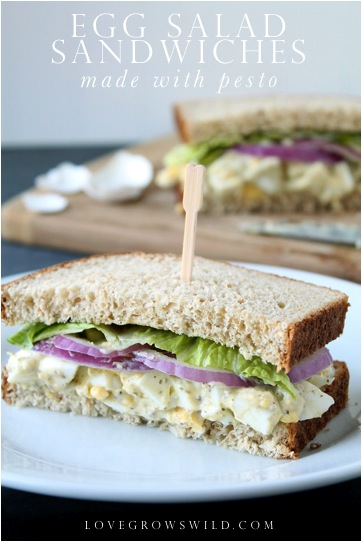 Pesto Egg Salad Sandwiches - a fresh, herby twist on the classic! Perfect for Summer lunches! via LoveGrowsWild.com
