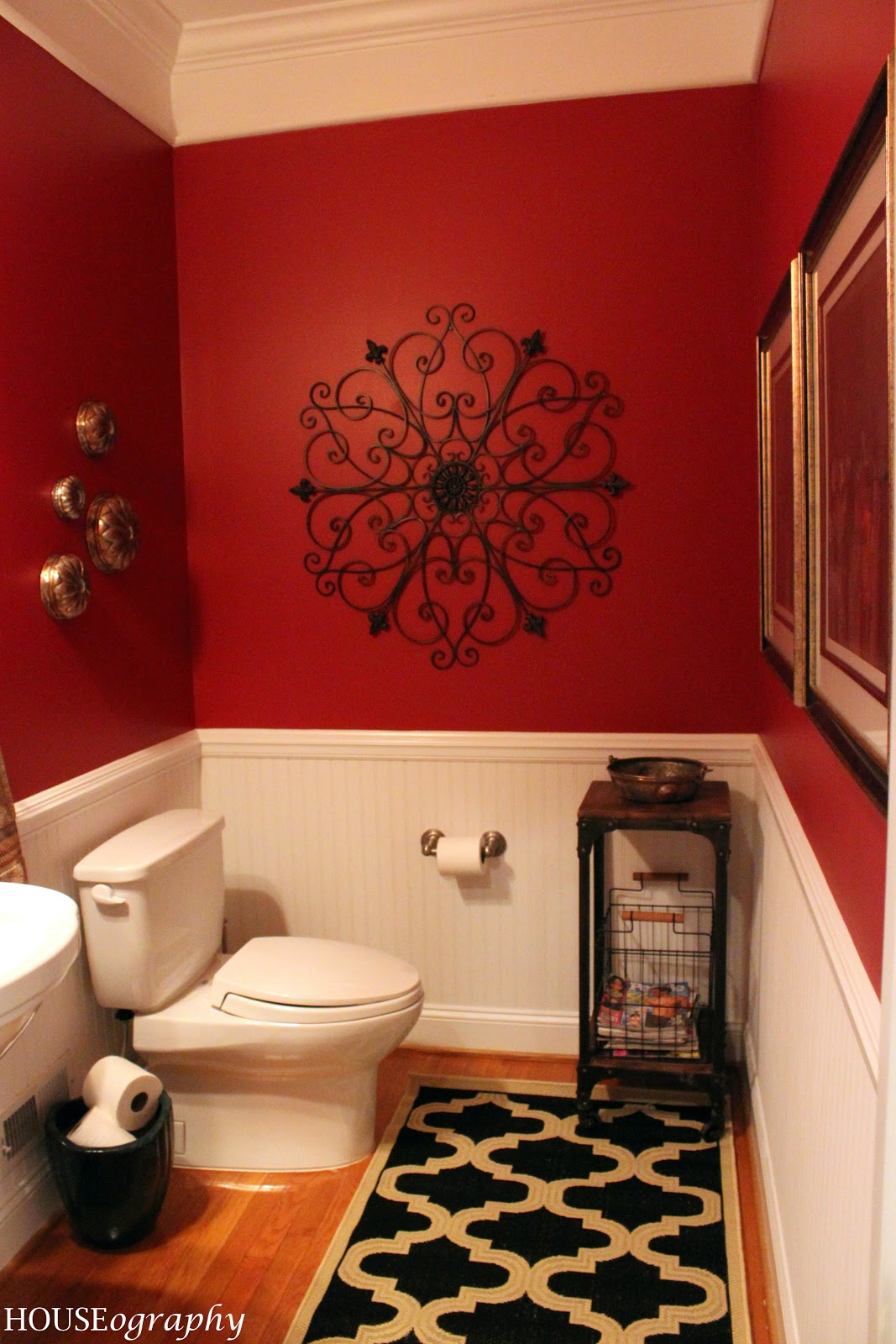 Houseography spendalla home styling jen 39 s under 500 powder room makeover reveal Home decor ideas wall colors