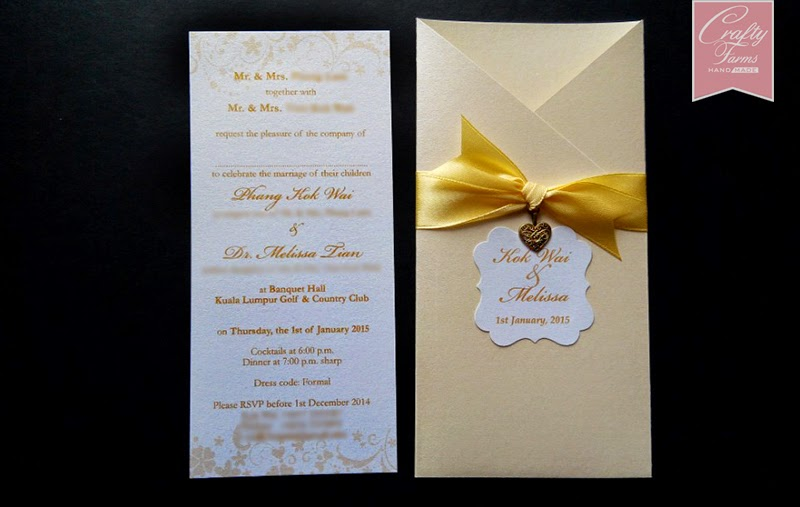Champagne Gold Theme Pocket Wedding Card with Love Charm for Western Wedding Style