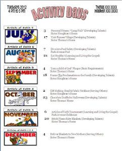 Calendar 2012 July- Dec