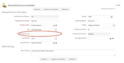 Formular Verkaufschance erstellen in Zoho CRM