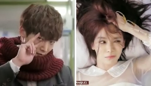 Chang Min strikes a cute pose. / Jin Hee wakes up with a confused look on her face.