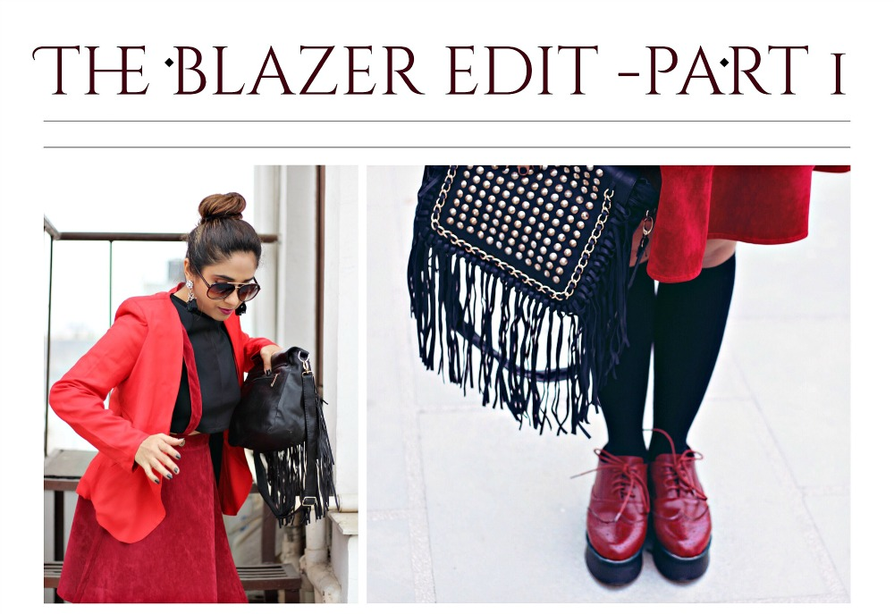 women oxfords flatforms , red blazers, fashion blogger in india