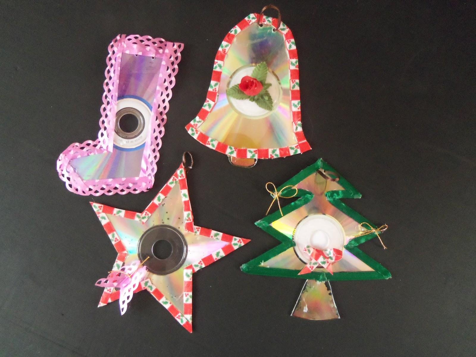 Reciclaje con Artesania: Adornos navideños de CD reciclados