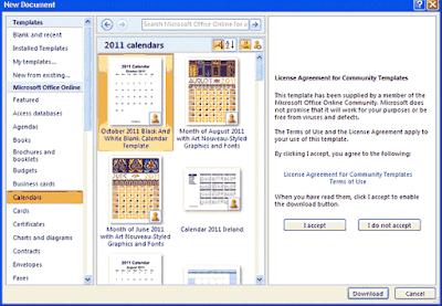 cara membuat kalender di ms word