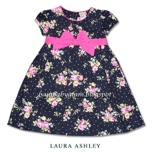Baju Baby Glam Laura Ashley Navy Blue Girl Dress